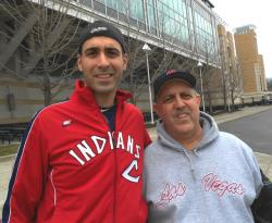 Jim and Chuck Spatelli, on their way to Progressive Field (pic by  Brian Bull)