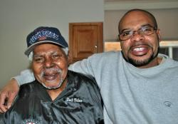 The Cleveland Buckeyes' Ted Toles, Jr. and his son Ted III