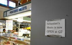 Meanwhile, Sebastian's Meats has been relocated.  A walled-off barrier marks its original location (pic by Brian Bull)