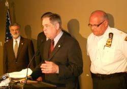 Cleveland Safety Director, Marty Flask, at today's press conference (pic by Brian Bull)