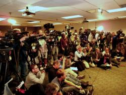 Members of the media gather for today's press conference (pic by Brian Bull)