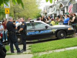 Police keep reporters and locals away from the house where Amanda Berry is reuniting with family (pic by Brian Bull)