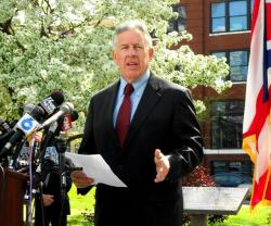Cuyahoga County Prosecutor Tim McGinty at today's press conference (pic by Brian Bull)