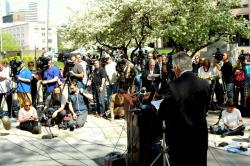 Dozens of media outlets surround McGinty (pic by Brian Bull)