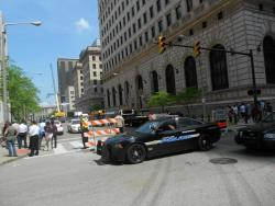 Police section off part of 6th Street to allow filming of 'Captain America: The Winter Soldier' (pic by Brian Bull)