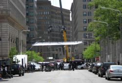 A crane marks where film crews are readying an action sequence in downtown Cleveland (pic by Brian Bull)