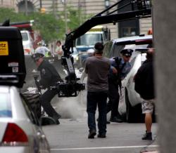 In this scene, actors playing DC-area cops retreat from an intense shootout (pic by Brian Bull)