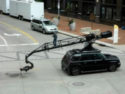 This special car is rigged with a camera, for tight pan-shots of the chase (pic by Brian Bull)