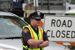 Cleveland Police help control traffic and limit access to the set (pic by Brian Bull)