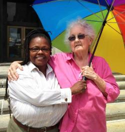Leslye Huff and Mary Ostendorf outside Cleveland City Hall. (Nick Castele / ideastream)