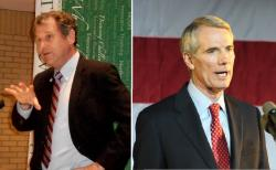 Democratic Senator Sherrod Brown (L) and Republican Senator Rob Portman, both of Ohio (pics by Brian Bull)
