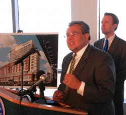 Joe Marinucci, of the Downtown Cleveland Alliance, at a recent Flats East Bank press event (pic by Brian Bull)