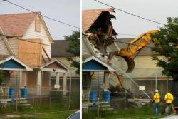 Castro's Seymour Avenue home, before and after an excavator tore into it this morning (pic by Brian Bull)