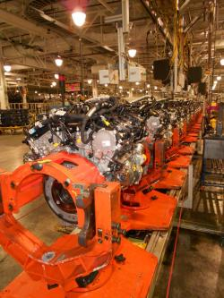 Ford motor engines on assembly line (pic by Brian Bull)