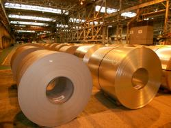 Rolled steel at Arcellor-Mittal, Cleveland (pic by Brian Bull)
