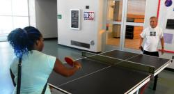 Natasha Wynn and a friend play ping-pong at Gunning Recreational Center (pic by Brian Bull)