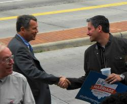 U.S. Senator Sherrod Brown greets a supporter at the event (pic by Brian Bull)