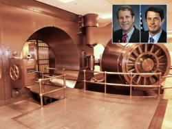 Bank vault and Senators Sherrod Brown (D-OH) and David Vitter (R-LA)