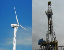 Wind turbine and fracking site (WCPN stock photos)