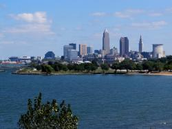 Cleveland cityscape, as seen from Upper Edgewater Park (pic by Brian Bull)
