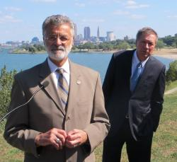 Mayor Jackson and Governor Kasich, at today's press conference (pic by Brian Bull)