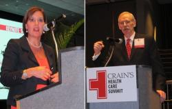 Ohio Lt. Governor Mary Lawton and Case Western Reserve Professor of Healthcare Finance, J.B. Silvers (pic by Brian Bull)