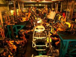 Assembly line at Honda in Marysville, OH.  Auto production has helped revive ArcelorMittal (pic by Brian Bull)