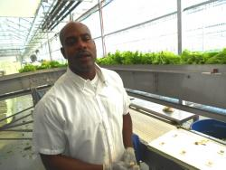 Brushawn Fletcher at his job at Green City Growers.  He hopes to return to the car sales business. (pic by Brian Bull)