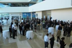 A crowd gathers in the atrium at the Global Center for Health Innovation (pic by Sarah Jane Tribble)