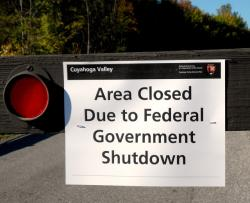 A sign informs the public that due to the government shutdown, Cuyahoga Valley National Park is closed (pic by Brian Bull)
