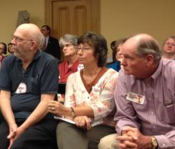 Crowd members listen intently at the Common Core hearing on Wednesday afternoon.