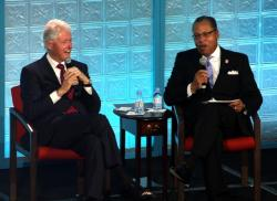 Bill Clinton and Tri-C President Alex Johnson at today's event (pic by Brian Bull)