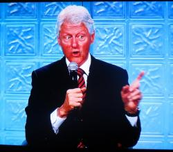 Bill Clinton's speech was also displayed via monitor across a massive ballroom (pic by Brian Bull)