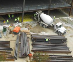 Back at the Ameritrust Complex, Geis crews pour concrete where the old P & H Buildings once stood (pic by Brian Bull)