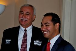Hispanic Roundtable Chair Jose Feliciano and San Antonio Mayor Julian Castro