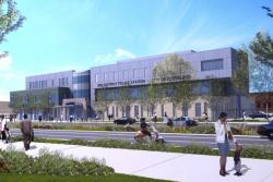 Artist's rendering of completed 3rd district headquarters. Construction begins in November.