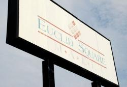 The sign welcoming you to the Euclid Square Mall is a little worse for wear