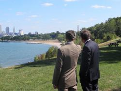 Jackson and Kasich survey Cleveland's lakefront area (pic by Brian Bull)