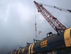 Train cars on the port are loaded with rolled steel from overseas. (Nick Castele / ideastream)