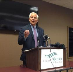 Akron Mayor Don Plusquellic talks about Lockheed's closure of its plant in the city. (Nick Castele / ideastream(