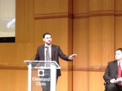 Aaron Marks speaks at the Cleveland Clinic.
