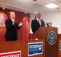 Ed FitzGerald and Eric Kearney at a campaign event in Cleveland with Rep. Marcy Kaptur. (Nick Castele/ideastream)