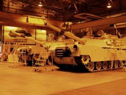 Several Abrams sit inside the JSMC's inspection area (pic by Brian Bull)