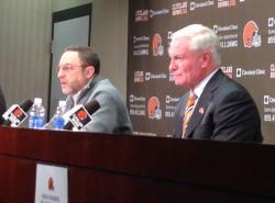 Team CEO Joe Banner, left, and owner Jimmy Haslam explain the decision to fire Rob Chudzinski. (Nick Castele/ideastream)
