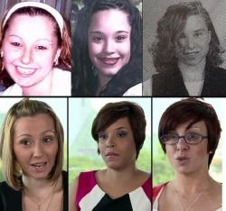 Old photos of Amanda Berry, Gina DeJesus, and Michelle Knight paired with photos of the ex-captives later in 2013.
