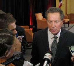 Gov. Kasich answers questions after his year-in-review speech. (Photo: Statehouse News Bureau)