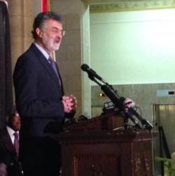 Cleveland Mayor Frank Jackson delivers inaugural address at City Hall. (Nick Castele / ideastream)