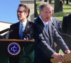 Cuyahoga County Executive Ed FitzGerald and Gov. John Kasich (ideastream file photos by Nick Castele & Brian Bull)