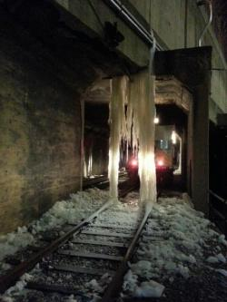 Photo of ice buildup in Tower City (provided by RTA)