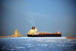 Carrier navigates icy port (from Cleveland Port Authority)